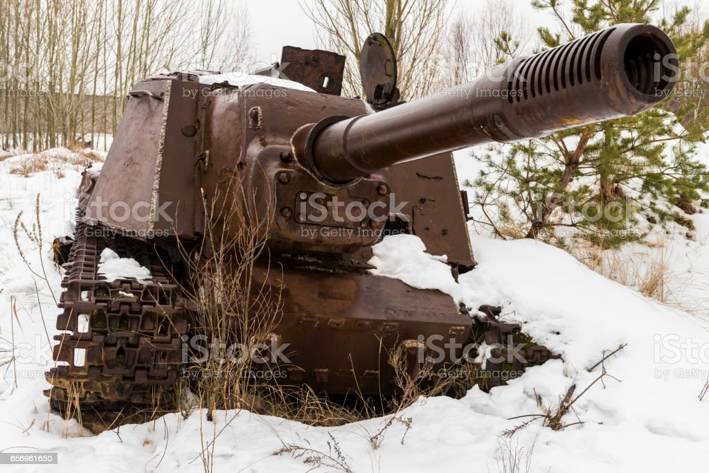 Rusty Gun in Chernobyl in Wintertime stock photo