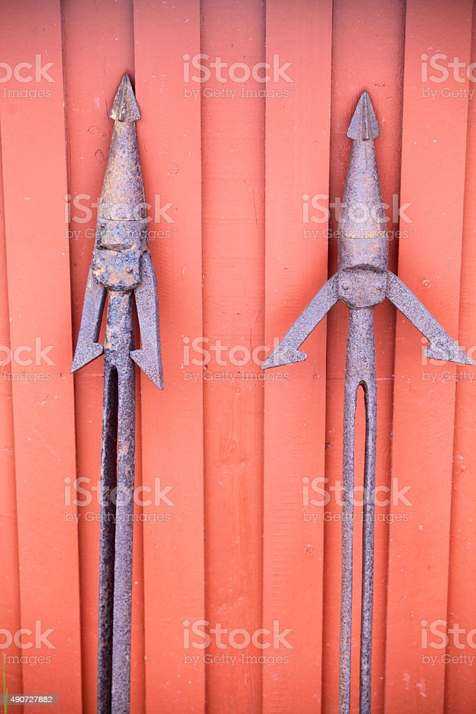 Rusty harpoons stock photo