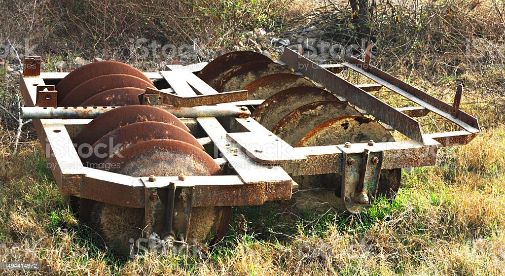 Rusty Harrow (Agricultural Machinery) stock photo