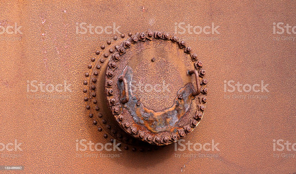 Rusty Hatch Remains of Antarctica Whale Industry royalty-free stock photo