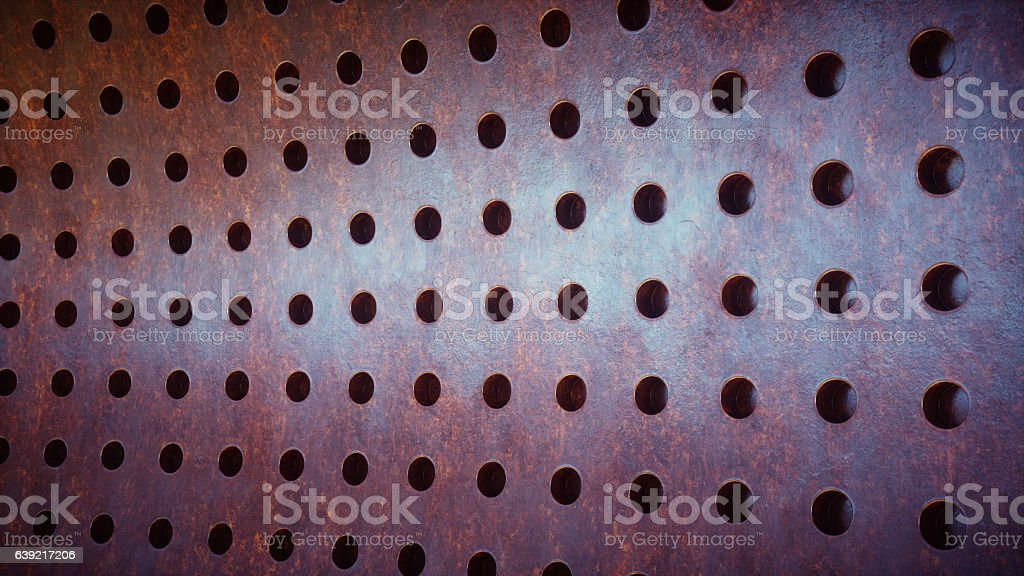 Rusty Industrial Plate With Holes stock photo