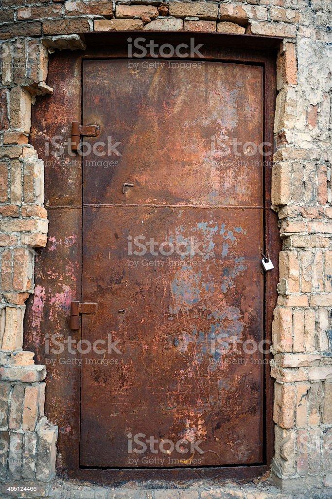 Rusty iron doors stock photo