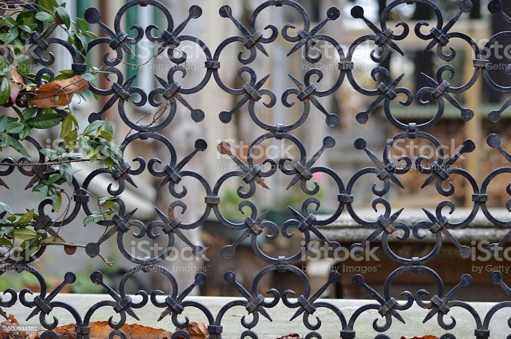 rusty iron railing stock photo