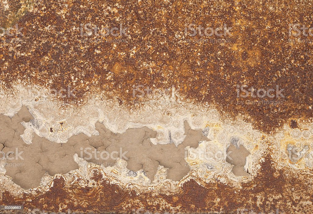 Rusty iron with peeled paint and corrosion stains background royalty-free stock photo