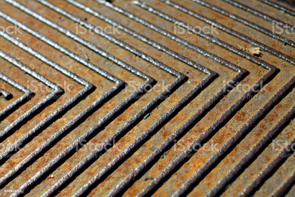 Rusty knurled metal texture. stock photo