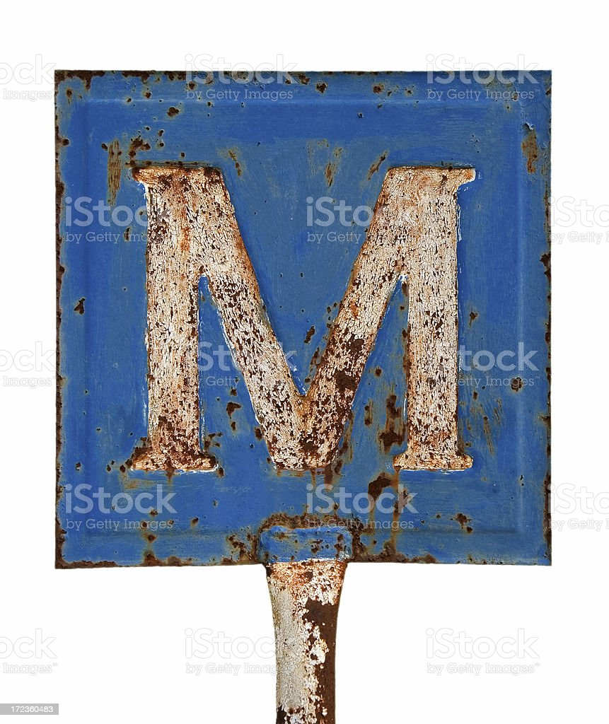 Rusty letter m royalty-free stock photo
