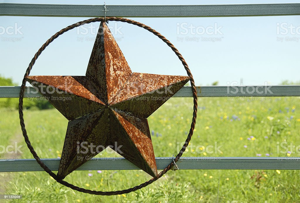Rusty Lone Star On Fence Gate stock photo