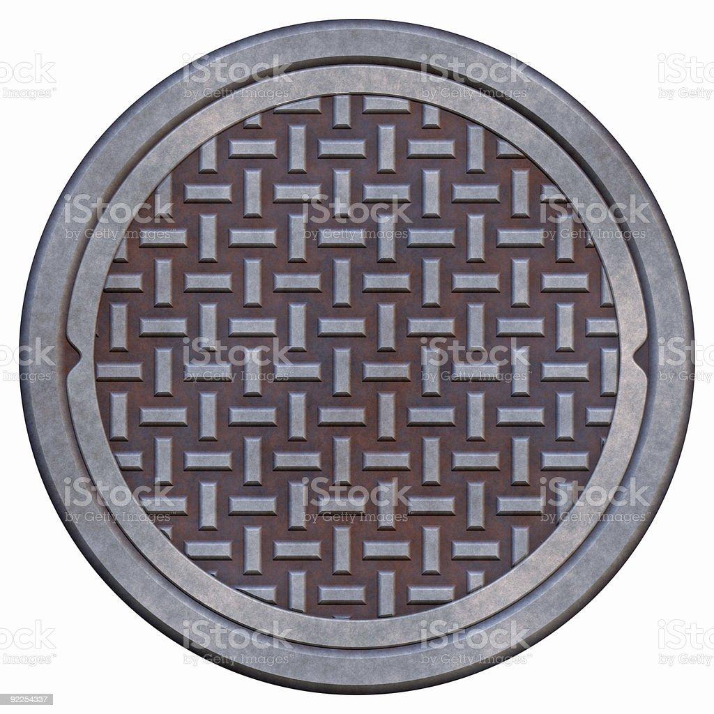 Rusty manhole cover stock photo