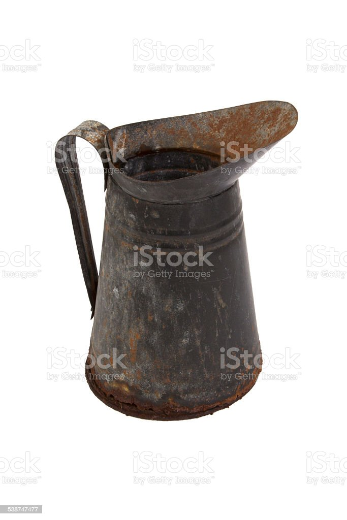 Rusty metal jug isolated on white background stock photo