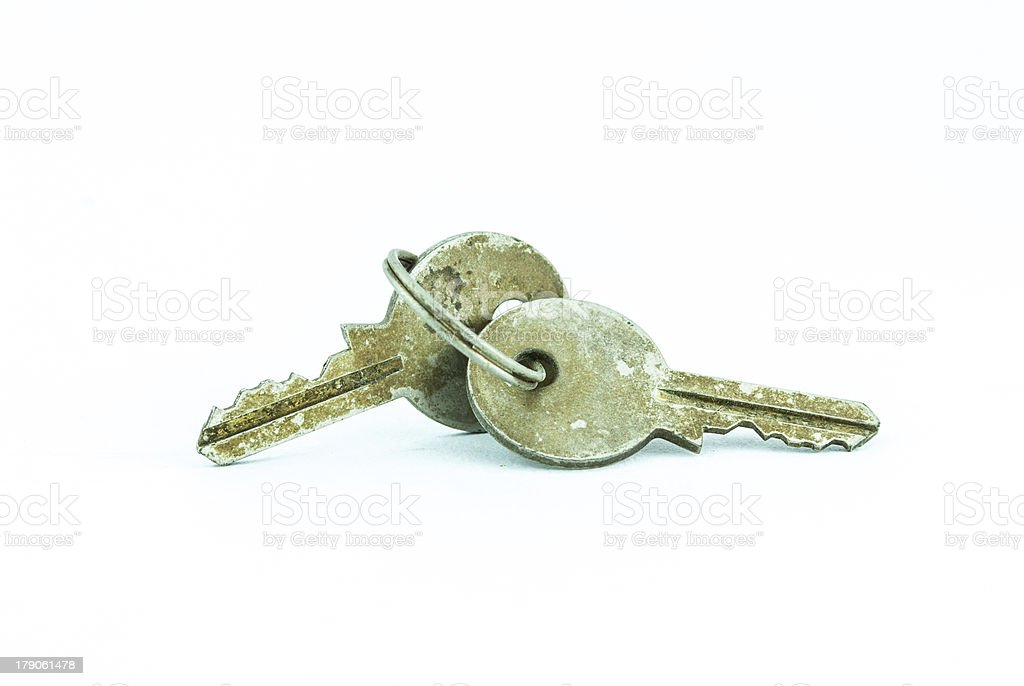 rusty metal keys and ring royalty-free stock photo