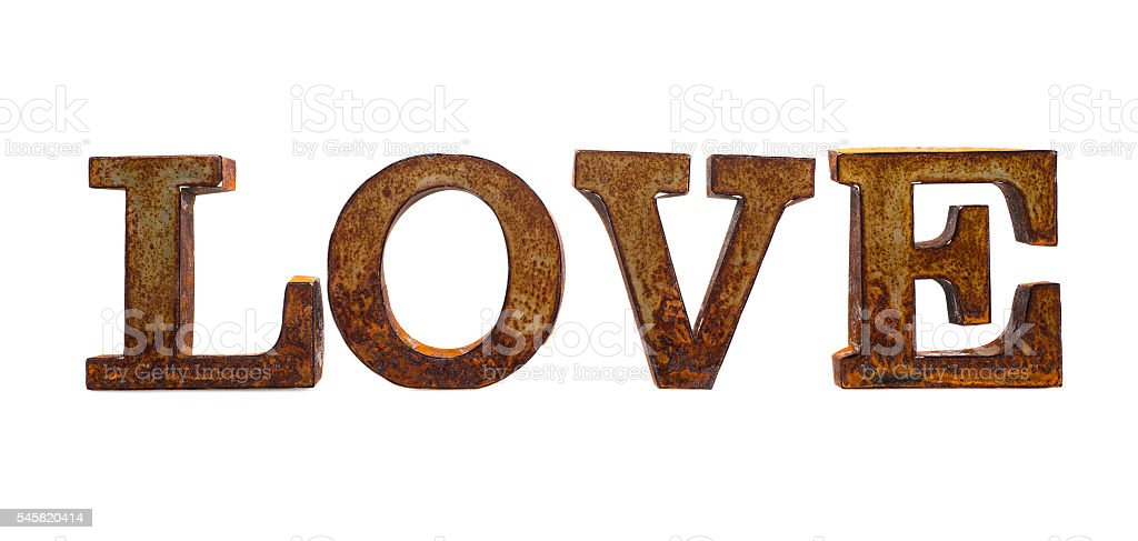 Rusty metal letters spelling LOVE stock photo