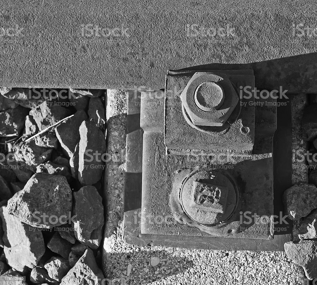 rusty metal nuts in black and white royalty-free stock photo