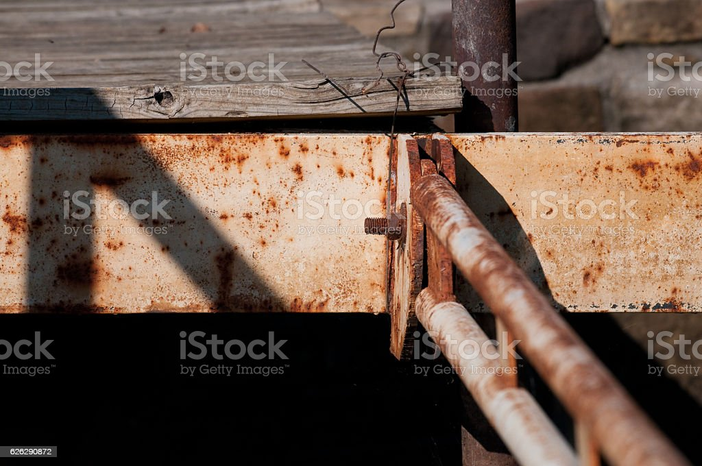 Rusty metal pipe on boat deck stock photo