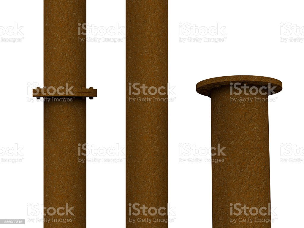 rusty metal pipe with flange joint stock photo