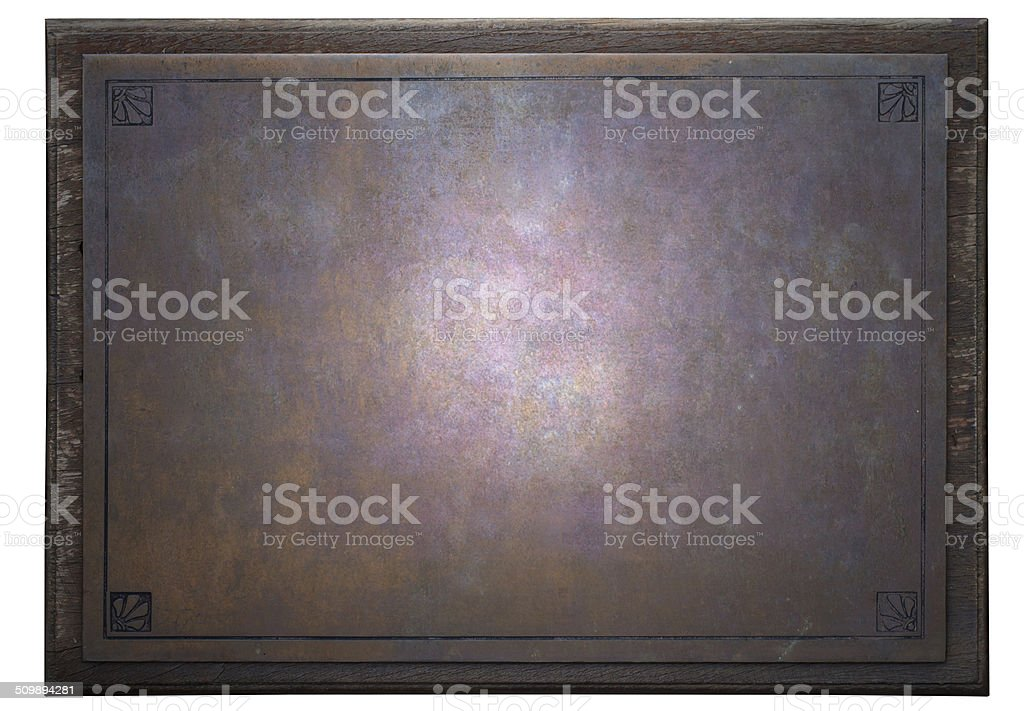 rusty metal plate on wooden frame stock photo