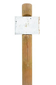 Rusty metal sign board signage, wooden signpost pole post vintage