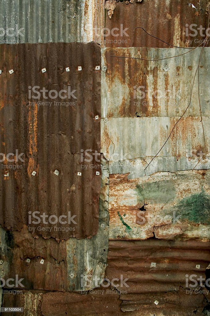 Rusty metal wall panels background texture royalty-free stock photo