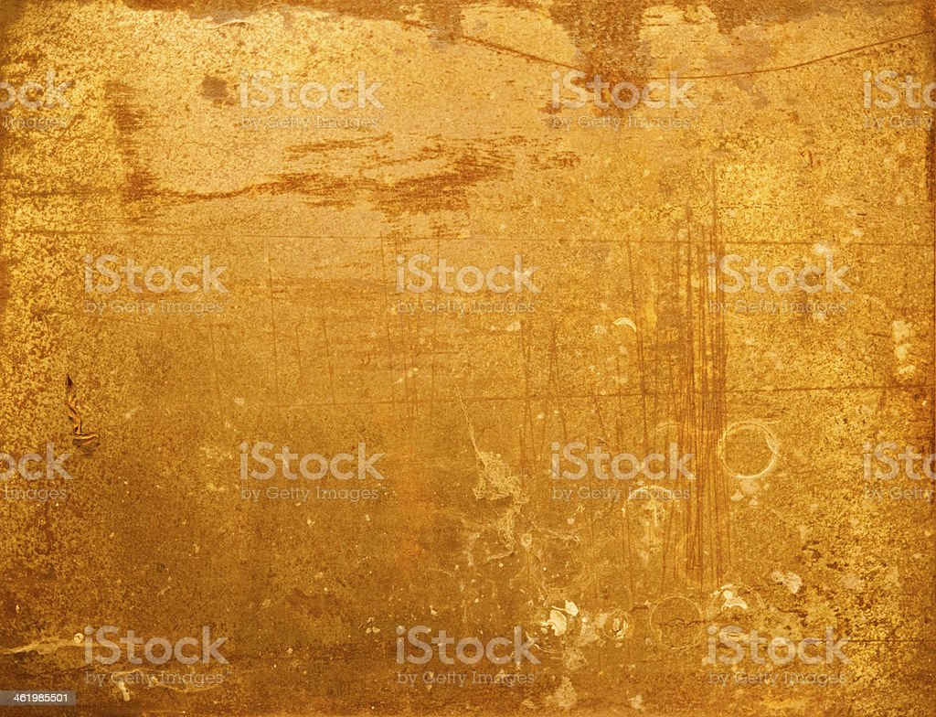 Rusty metal with gold colour stock photo
