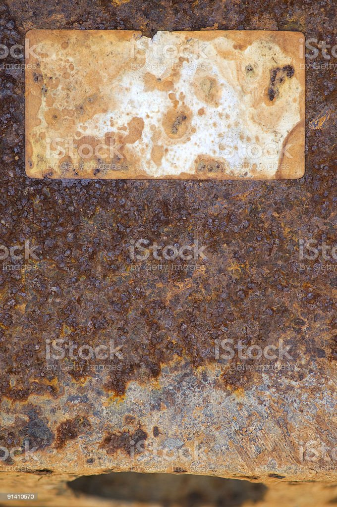 Rusty Metal With Label XL royalty-free stock photo
