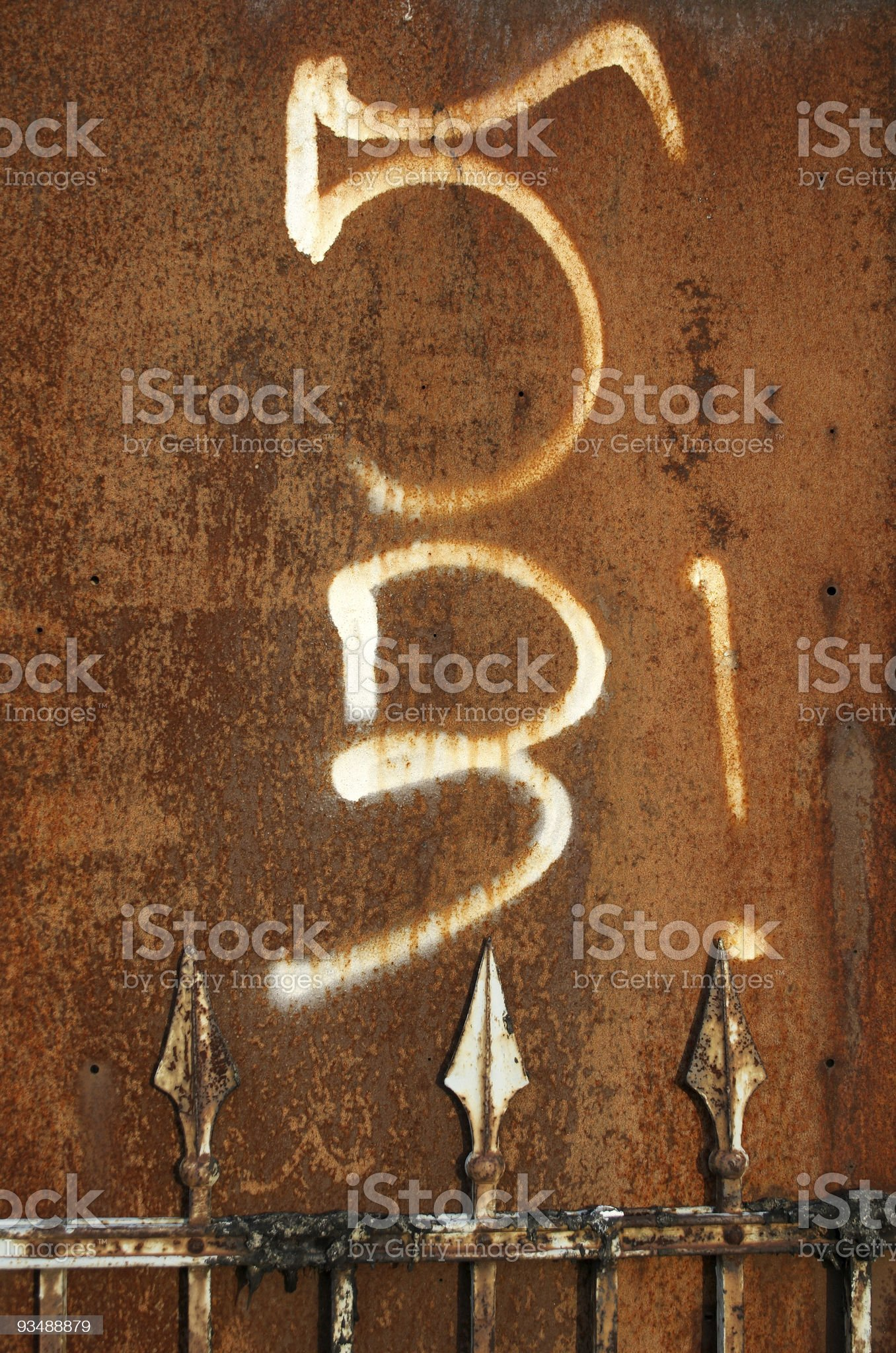 Rusty Metal with Numbers royalty-free stock photo