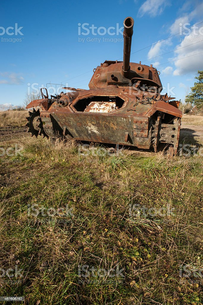 Rusty military war tank royalty-free stock photo