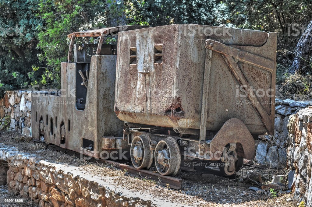 rusty mine wagon stock photo