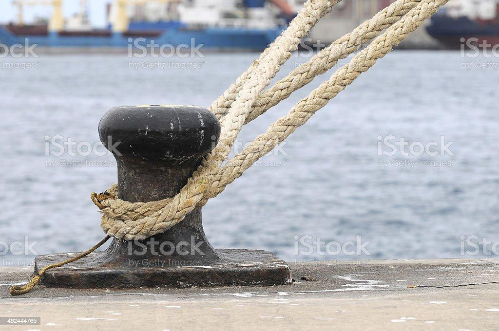 Rusty Mooring on a Pier stock photo