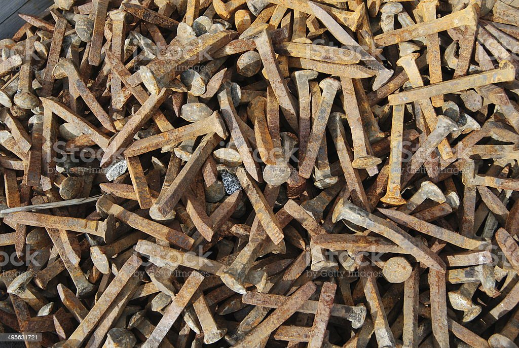 Rusty Nails stock photo