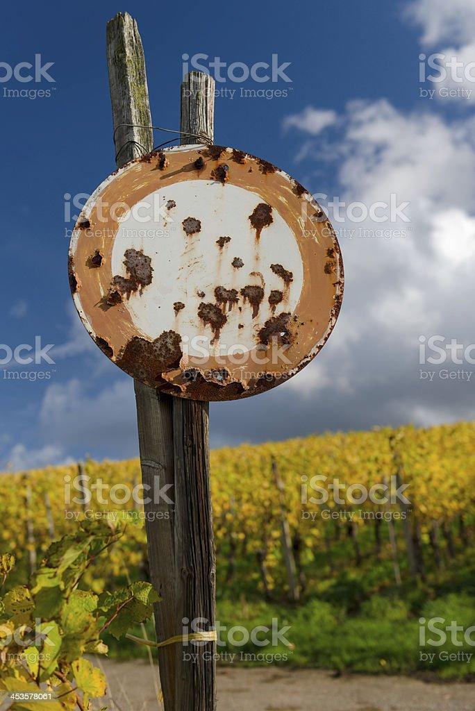 Rusty No Vehicles Traffic Sign stock photo