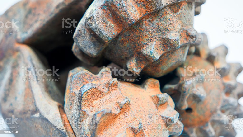 Rusty oil drilling head closeup stock photo