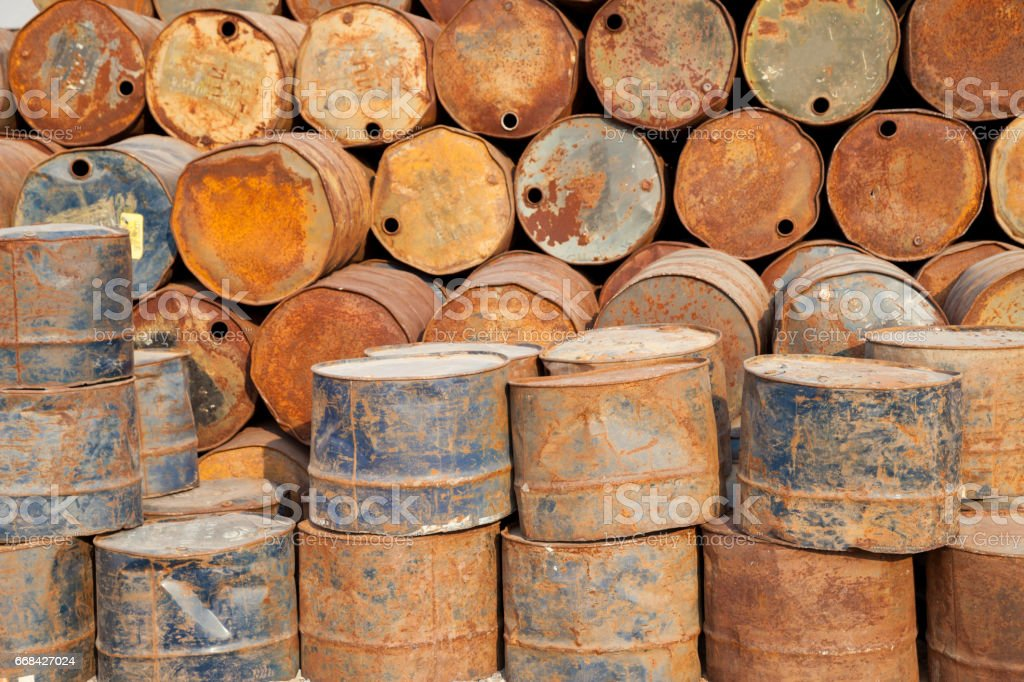 Rusty oil drum stock photo