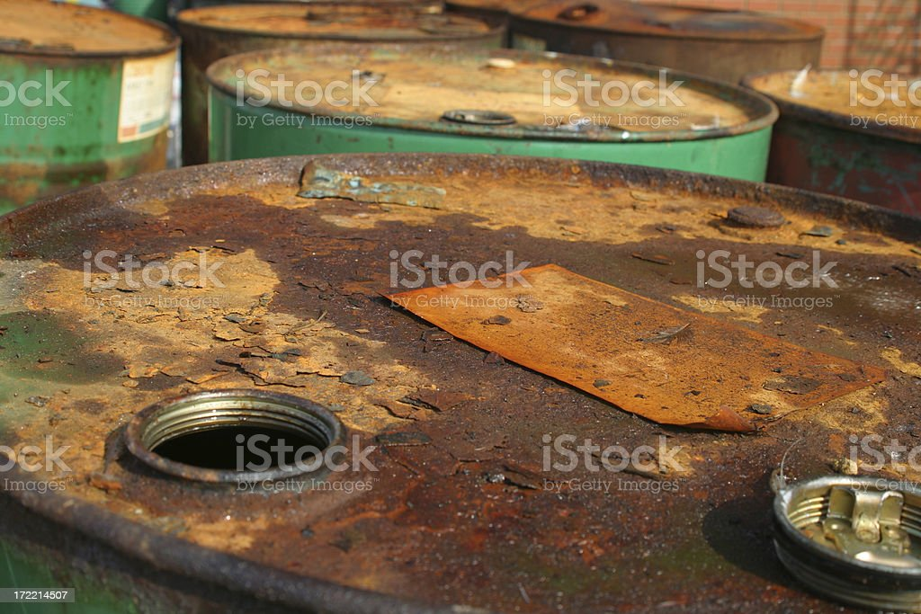Rusty oil drums royalty-free stock photo