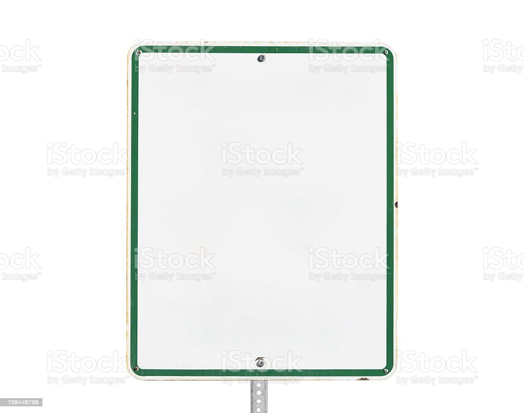Rusty Old Blank White Sign with Green Trim Isolated royalty-free stock photo