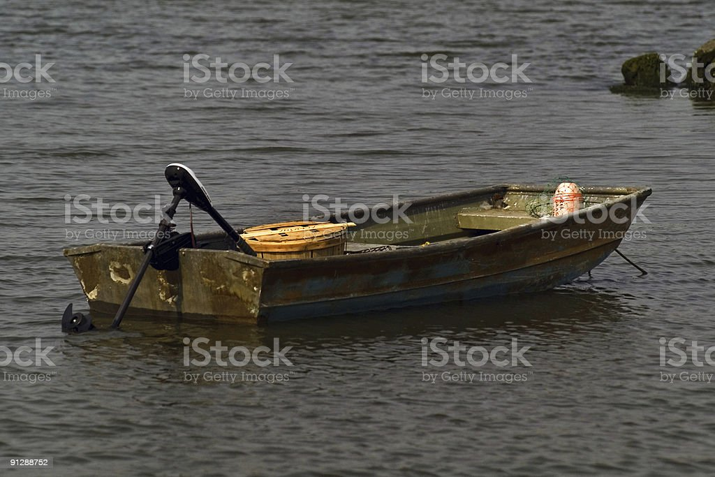 Rusty Old Boat and Motor royalty-free stock photo