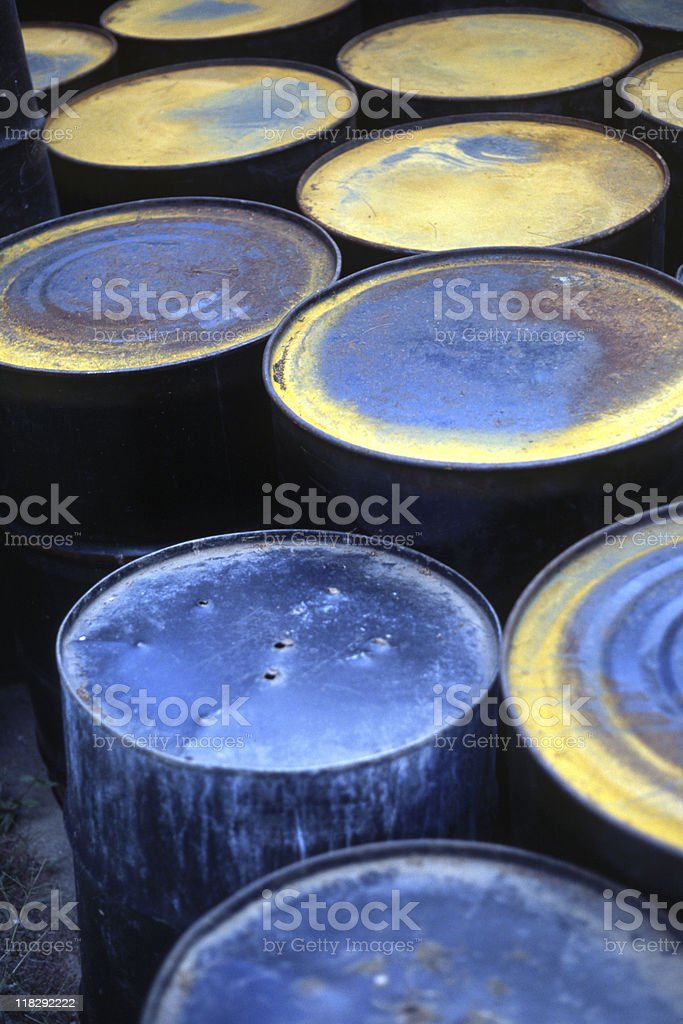 Rusty, Old Chemical and Oil Barrels royalty-free stock photo
