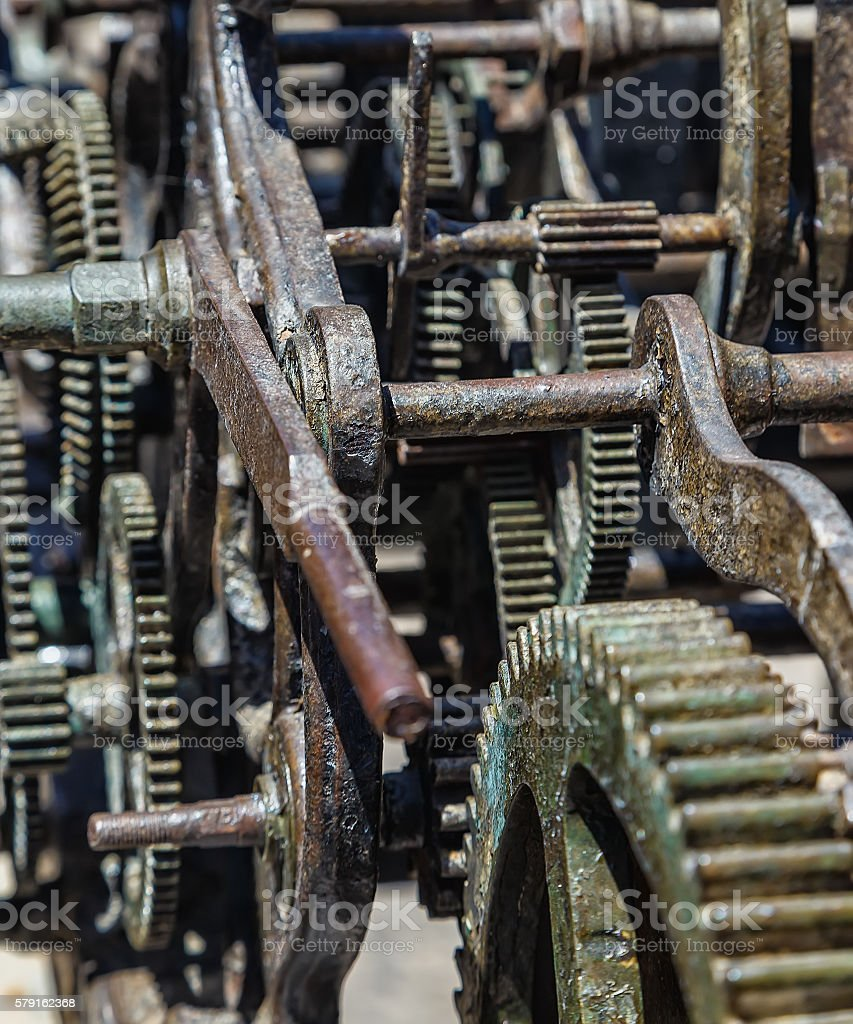 rusty old clockwork large clock with damaged dial stock photo