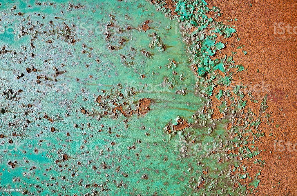 Rusty old grunge green empty sheet metal wall texture background stock photo
