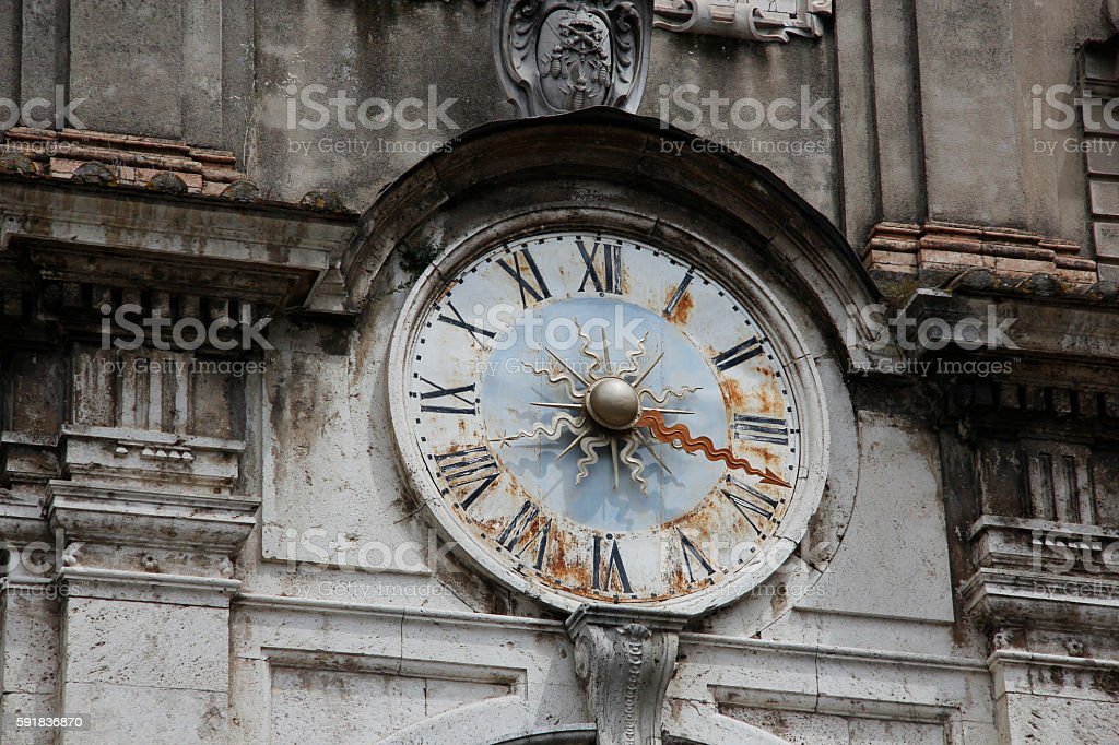 Rusty Old Italian Clock in Clock Tower stock photo
