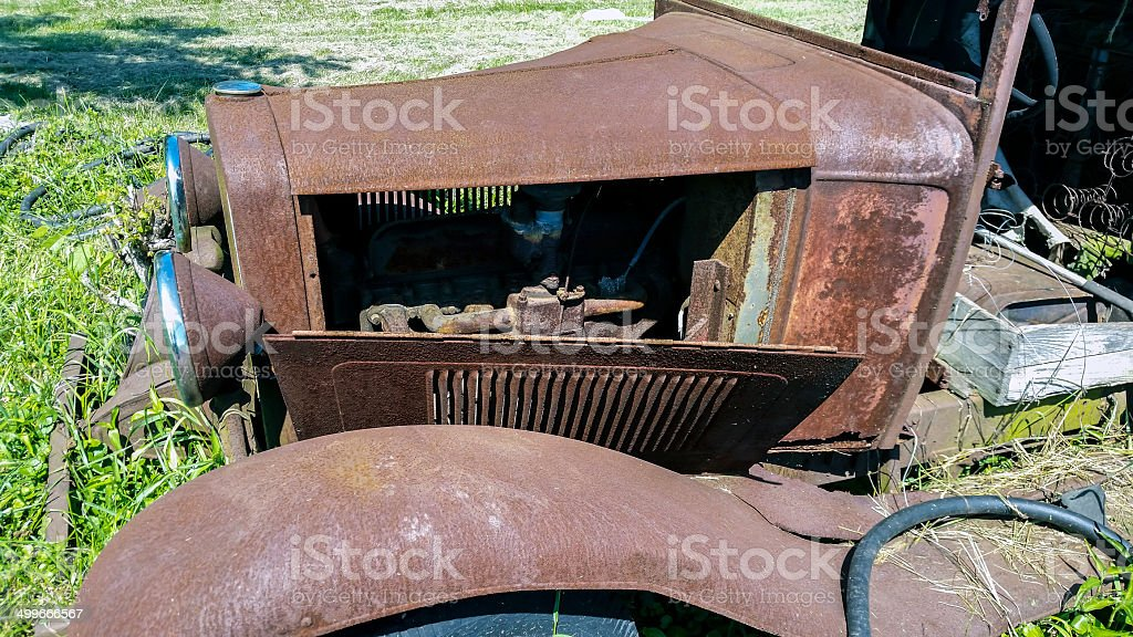 Rusty old Model T stock photo