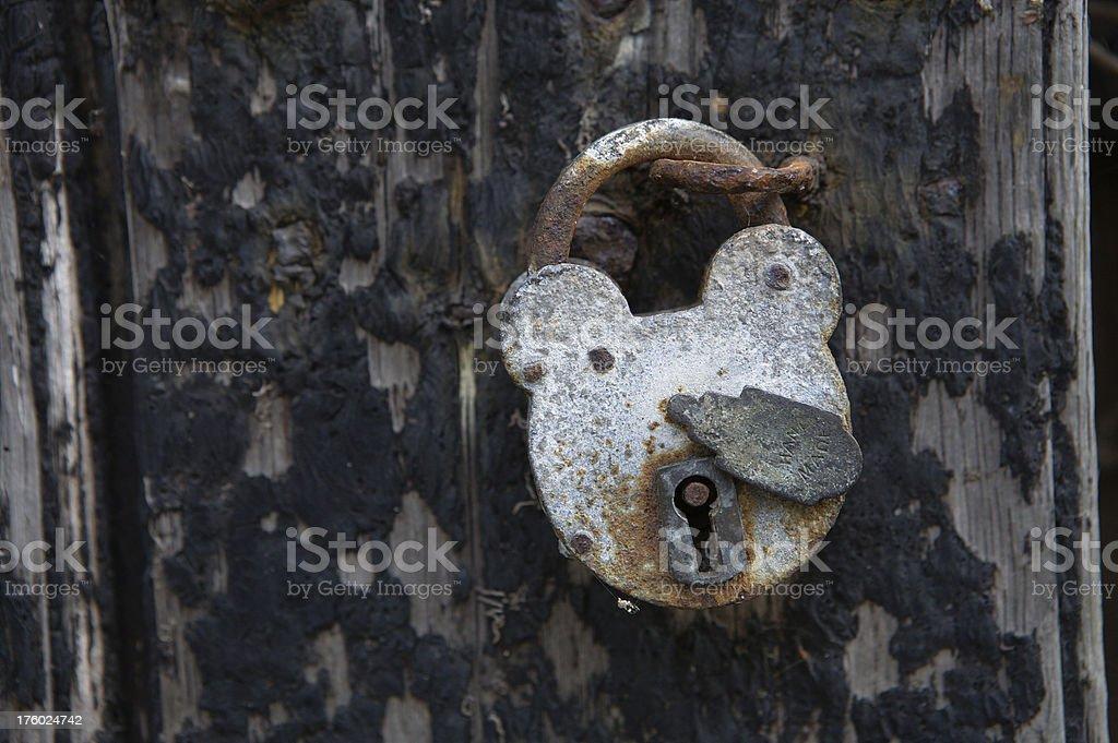 Rusty old padlock royalty-free stock photo