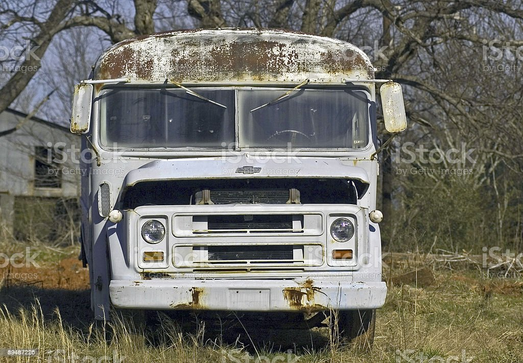 Rusty old school bus from a better day royalty-free stock photo