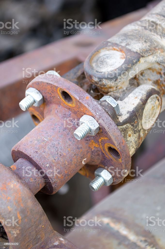 rusty old steel joints stock photo