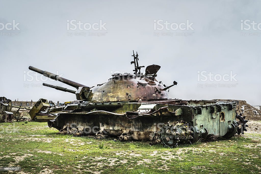 Rusty old tank/Afghanistan royalty-free stock photo