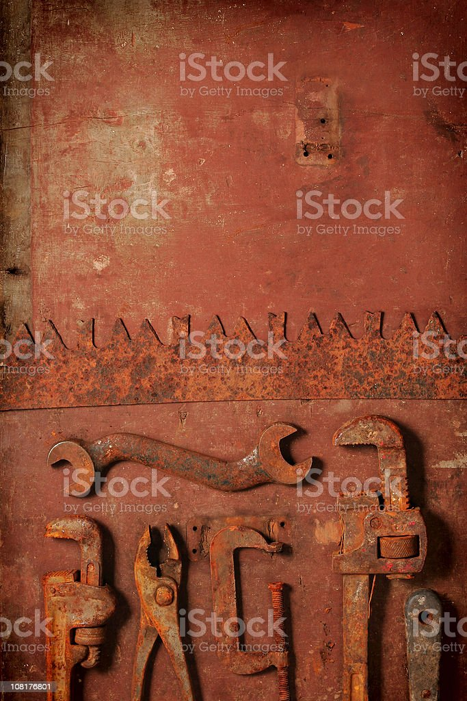 Rusty Old Tools on Wood royalty-free stock photo