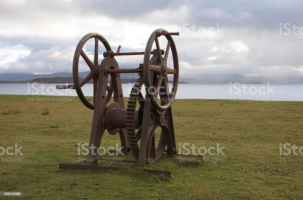 rusty old winch seaside in Scotland stock photo