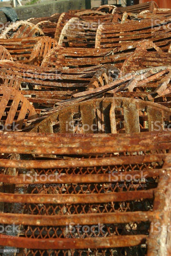 rusty oyster bushels stock photo
