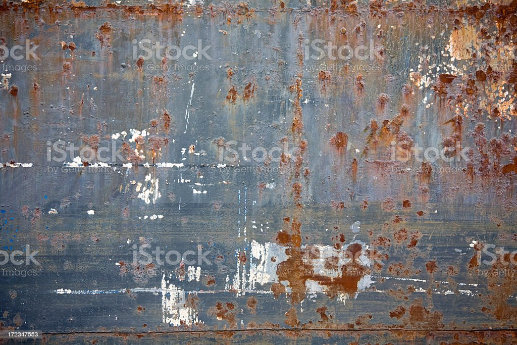 Rusty painted side of boat; background; texture stock photo