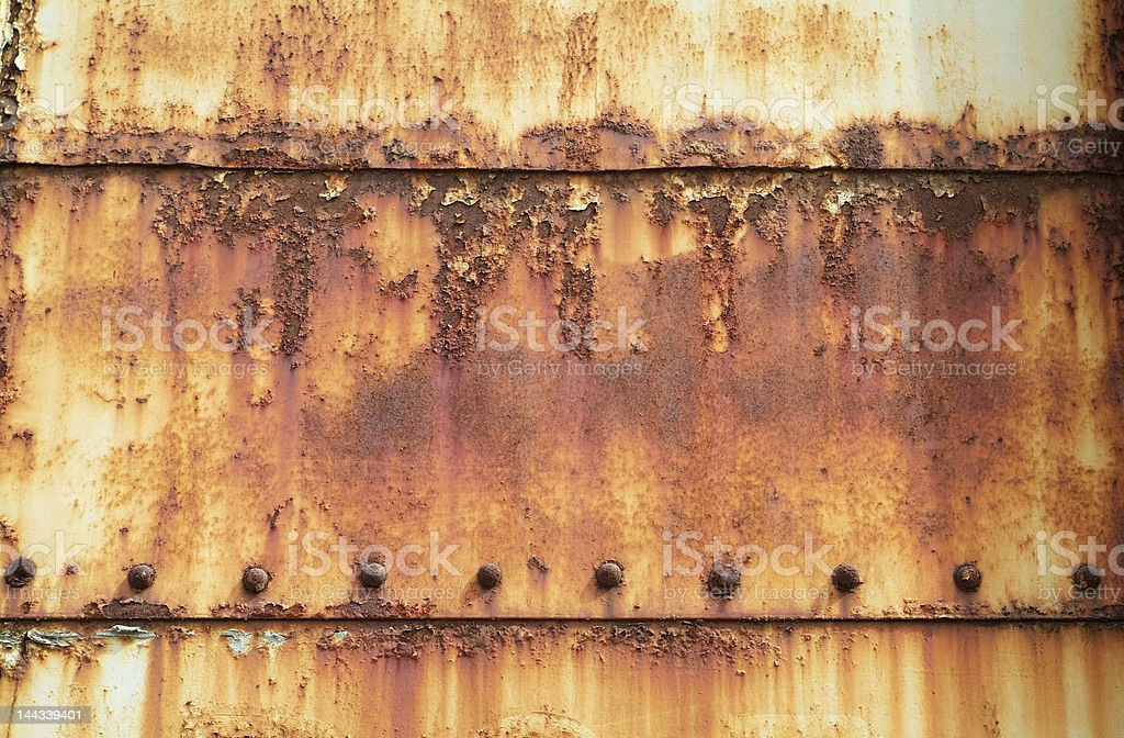 Rusty, painted steel plates stock photo