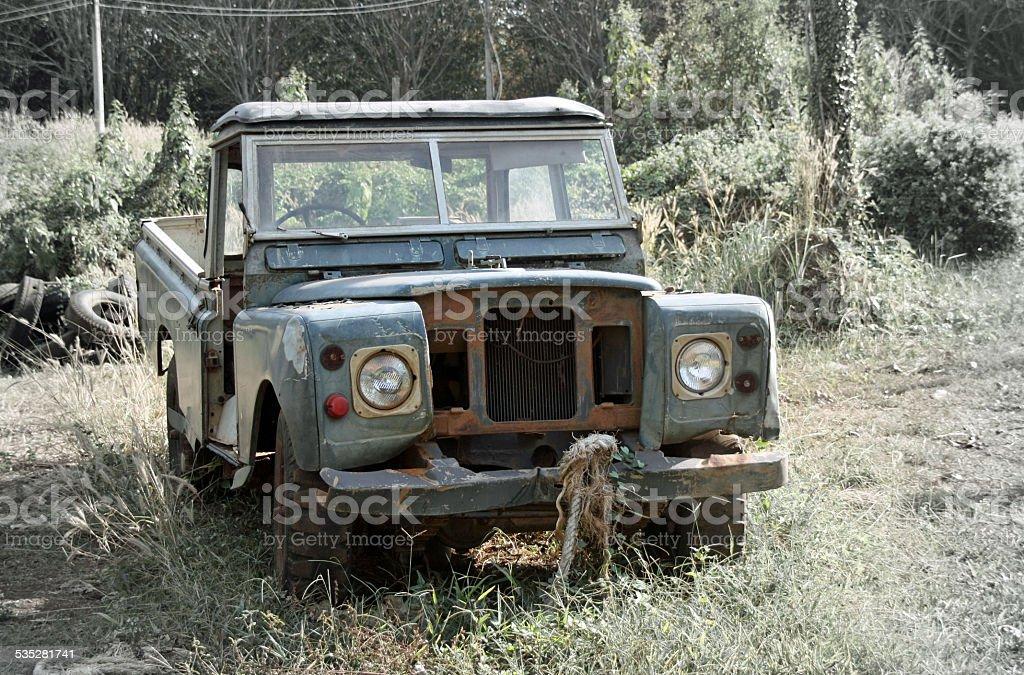 Rusty pick up sem portas e Grade de Radiador foto de stock royalty-free