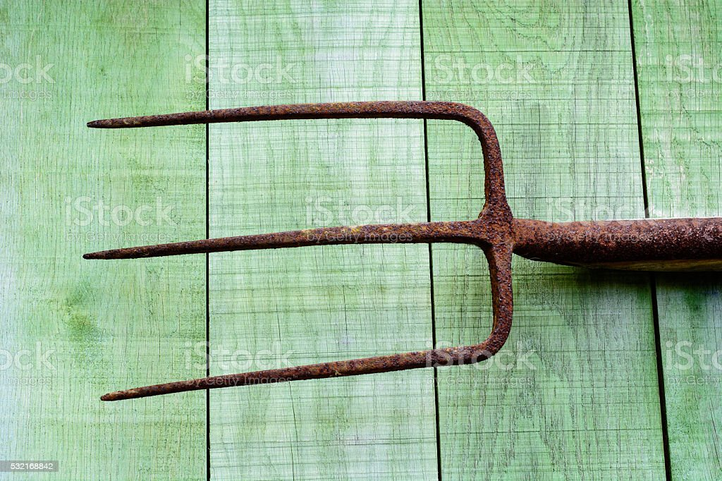 Rusty pitchfork on wooden planks stock photo